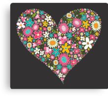 Spring Flowers Valentine Heart 2  Canvas Print