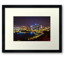 Pittsburgh CITYSCAPE view from Duquesne Incline After Dark Framed Print