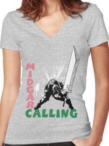Midgar Calling Women's Fitted V-Neck T-Shirt