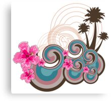 Tropical Waves & Pink Hibiscus Canvas Print