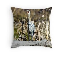 "Great Blue ""awk!"" Heron Throw Pillow"