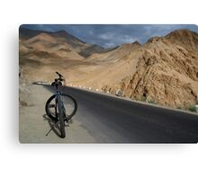 Mountain Biking down from Khardung La Canvas Print