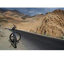 Mountain Biking down from Khardung La Photographic Print