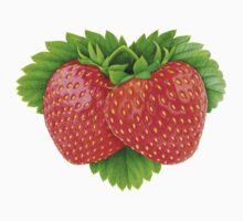 Pair of strawberries on leaf One Piece - Short Sleeve