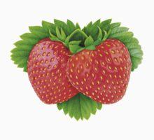 Pair of strawberries on leaf Kids Tee
