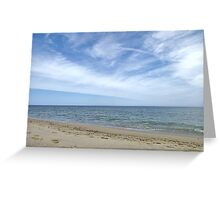 Sandy ocean beach under pretty blue sky Greeting Card