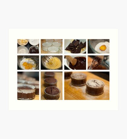 Chocolate Fondant - collage photo recipe Art Print