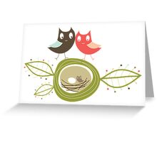 Whimsical Nesting Owl Family Greeting Card
