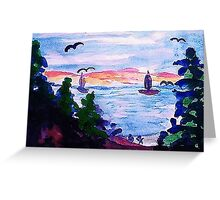 A cool day by the lake, watercolor Greeting Card