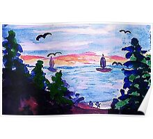 A cool day by the lake, watercolor Poster
