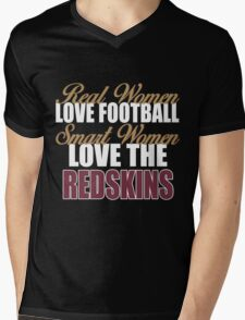 Real Women Love Football Smart Women Love The Redskins Mens V-Neck T-Shirt