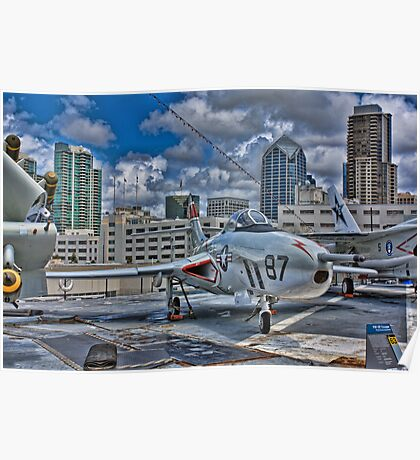 WWII Plane, USS Midway Poster