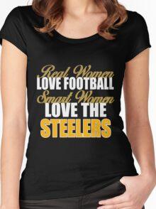 Real Women Love Football Smart Women Love The Steelers Women's Fitted Scoop T-Shirt