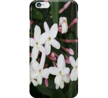Delicate White Jasmine Blossom with Green Background iPhone Case/Skin