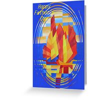 Happy Father's Day Sailing on the Seven Seas so Blue Cubist Abstract Greeting Card