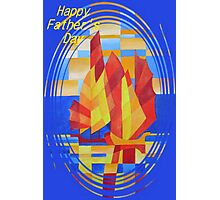 Happy Father's Day Sailing on the Seven Seas so Blue Cubist Abstract Photographic Print