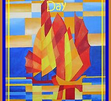 Happy Father's Day Sailing on the Seven Seas so Blue Cubist Abstract by taiche