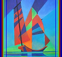 Happy Father's Day Cubist Abstract Junk Boat Against Deep Blue Sky by taiche