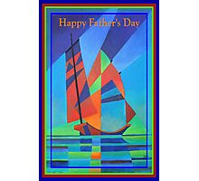 Happy Father's Day Cubist Abstract Junk Boat Against Deep Blue Sky Photographic Print