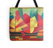 Happy Father's Day Cubist Abstract of Junk Sails and Ocean Skies Tote Bag