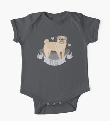 PUGS cute pug dog in a banner One Piece - Short Sleeve