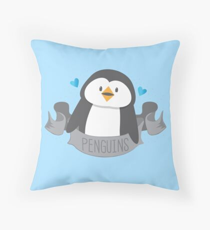 Penguin on a banner Throw Pillow