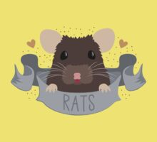 RATS with cute rat on a banner One Piece - Short Sleeve