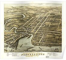Panoramic Maps Bird's eye view of Plattsburgh Clinton Co New York 1877 Poster