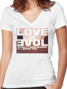 Love is Evol. Women's Fitted V-Neck T-Shirt