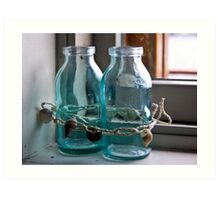 Glass Bottles on the Window Sill in Marblehead Art Print