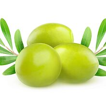 Green olives with branches and leaves by 6hands