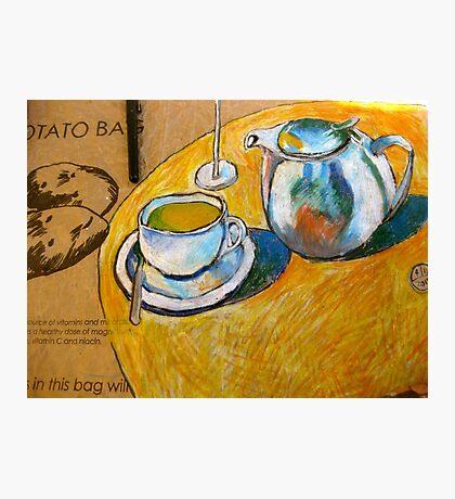 A Cup of Tea on a Potato Bag Photographic Print