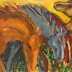 Horse Group on Yellow by SHANNON BUEKER