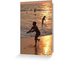 Frisbee Thrower on Varkala Beach at Sunset Greeting Card