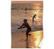 Frisbee Thrower on Varkala Beach at Sunset Poster