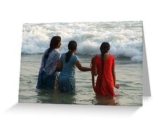 Indian Women in the Sea at Varkala Greeting Card