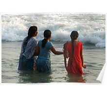 Indian Women in the Sea at Varkala Poster