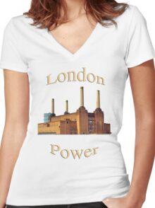 London Power Women's Fitted V-Neck T-Shirt