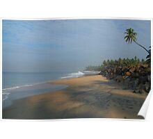 Palm Tree over Black Beach Varkala Poster