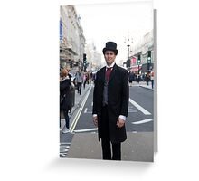 Man in a vintage costume at the Regent Street Motor Show in London Greeting Card