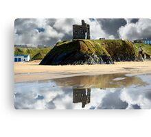 wild atlantic way castle ruins and beach Canvas Print