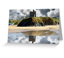 wild atlantic way castle ruins and beach Greeting Card