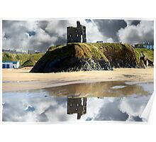 wild atlantic way castle ruins and beach Poster