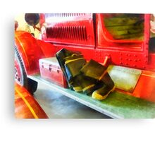 Two Pairs of Boots on Fire Truck Canvas Print