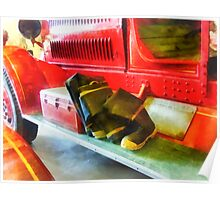 Two Pairs of Boots on Fire Truck Poster