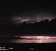 Lightning with suburbia in black and white 2 by Peter Holland