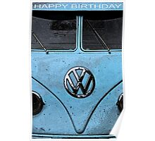 KOMBI VW BIRTHDAY CARD Poster