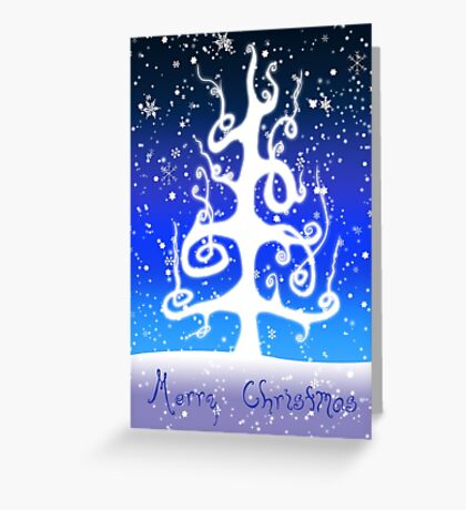 Eartheerian Christmas Tree ~ Blue Version ~ Christmas Card  Greeting Card