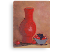 Red Vase and Fruit Canvas Print