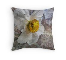 Daffodil in Grunge Throw Pillow
